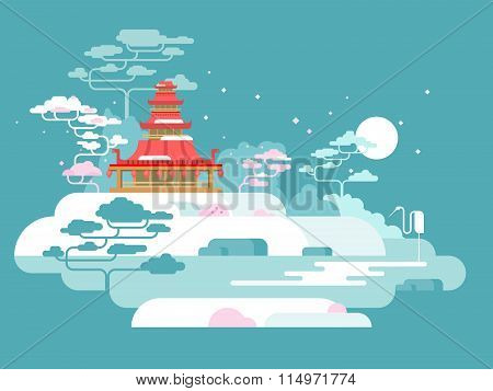 China painted landscape