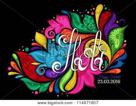 Vector Happy Holi Template With Multicolor Colorful Stains On Black Background