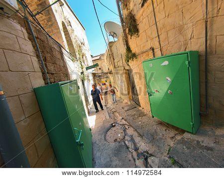 Nazareth Israel - January 1 2008: Street scene of the city of Nazareth Israel