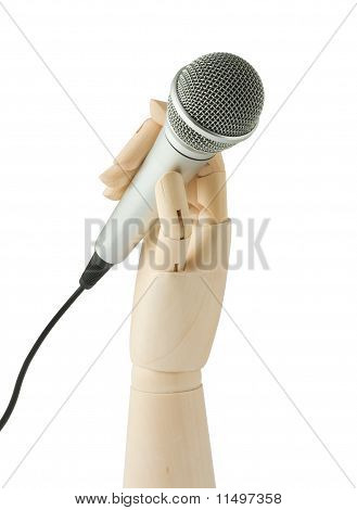 Wooden Hand Holding A Microphone