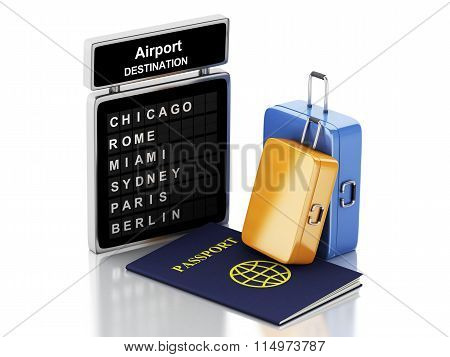 3D Airport Board, Passport And Travel Suitcases