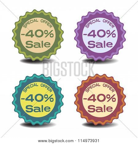 Forty percent discount stickers
