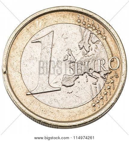 Old one euro coin isolated on a white background. File contains clipping paths.