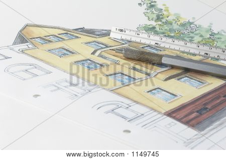 Colored Plan Of Residential Building