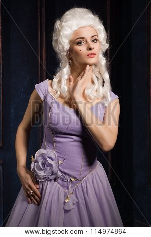Woman In Historic Baroque Style Dress And White Wig