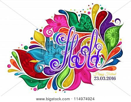 Vector Happy Holi Template With Multicolor Colorful Stains On White Background
