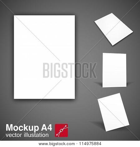 white brochure mockup a4 eps 10
