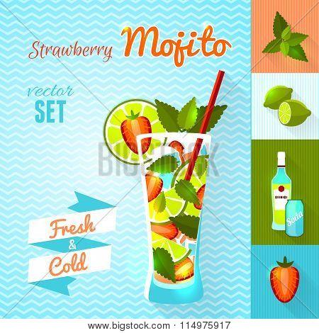 Strawberry Mojito Cocktail Set. Vector illustration, eps10.