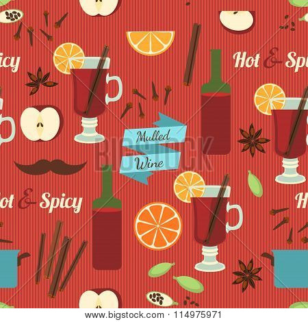 Mulled Wine Theme, Seamless Background. Vector Illustration, eps10.