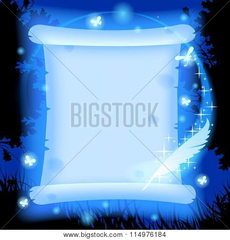 Fairy glowing in blue light parchment with luminescent butterflies and magic pen against a background of forest in night. Vector illustration