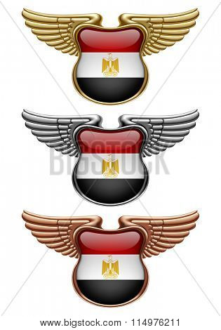 Gold, silver and bronze award signs with wings and Egypt state flag. Vector illustration