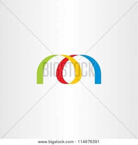 Logo Letter M Colorful Ribbon Vector