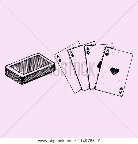 Four aces, deck of poker
