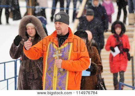 Orel, Russia - January 19, 2016: Russian Epiphany Feast. Orthodox Priest