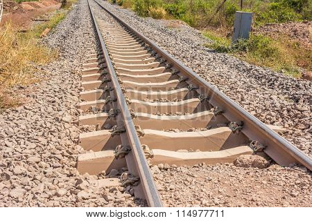 Railway In Sunny Day, Thailand. It Is Classical Railway.