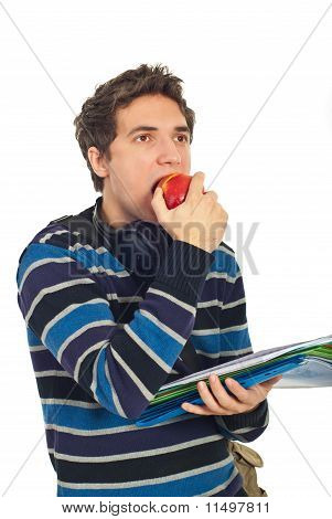 Student Guy Eating An Apple