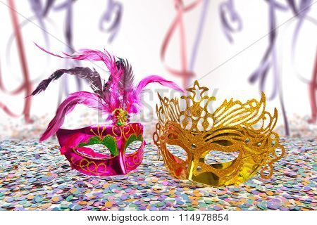 Carnival Party Props on blur background