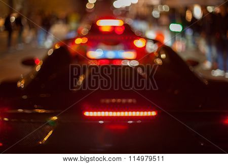 Night Photo Of Car Is Out Of Focus.