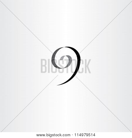 Stylized Number 9 Nine Black Spiral Icon