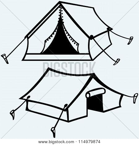 Set of canvas tents