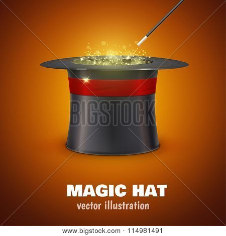 vector MAGIC HAT with red ribbon