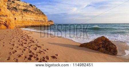 pictorial sea scenery over sunset in Algarve, Portugal