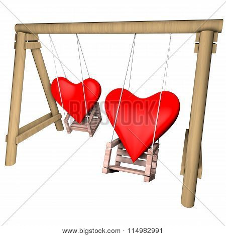 Two Hearts On A Swing. Valentines Day Illustration.