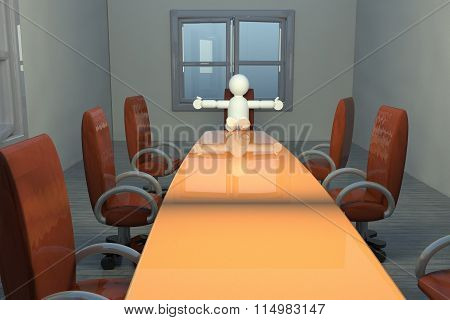 Open Armed Puppet In Meeting Room