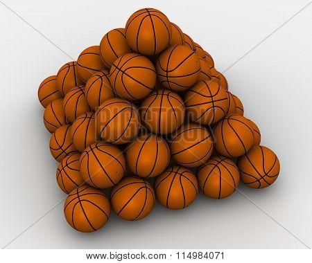 Basketballs stacked pyramid