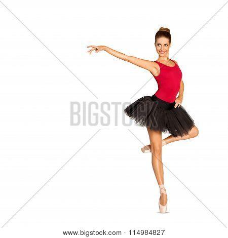 Beautiful ballerina in black tutu skirt