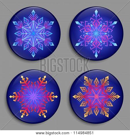 Snowflakes 3D Buttons. Set