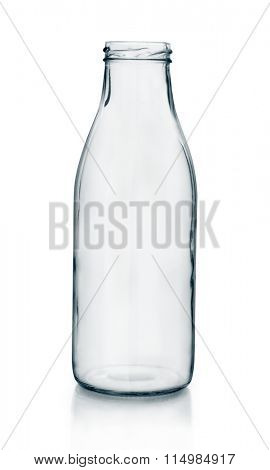 Empty glass milk bottle
