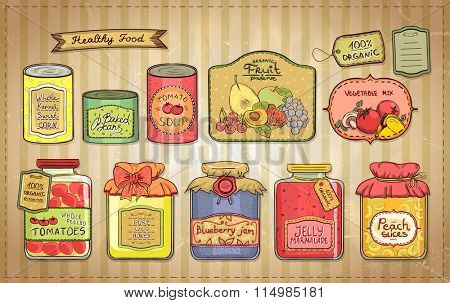 Hand drawn vintage style illustration with canned goods set and tags on a paper. Tomato soup, blueberry jam, peach slices, tomatoes, sweet corn, fruit preserve, baked beans, wild honey.