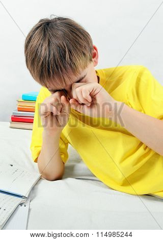 Tired Kid Doing Homework
