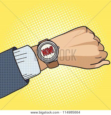 Wrist watch show now pop art style vector