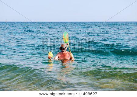 Man Is Snorkeling