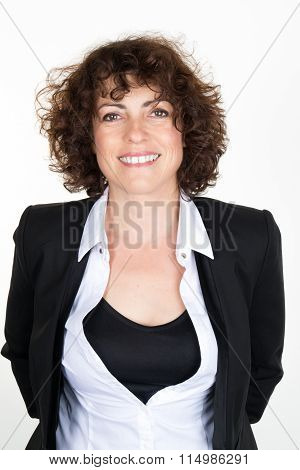 Half-length Portrait Of Businesswoman .concept Of Leadership And Success