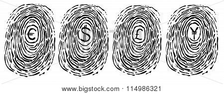 Finger print with currency symbols