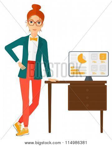 Cheerful office clerk.