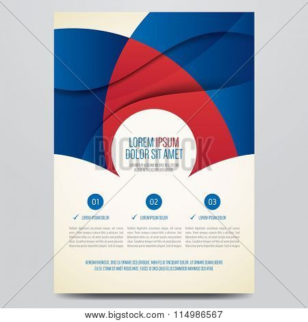 Flyer, brochure, poster, annual report, magazine cover vector template. Modern red and blue corporate design.