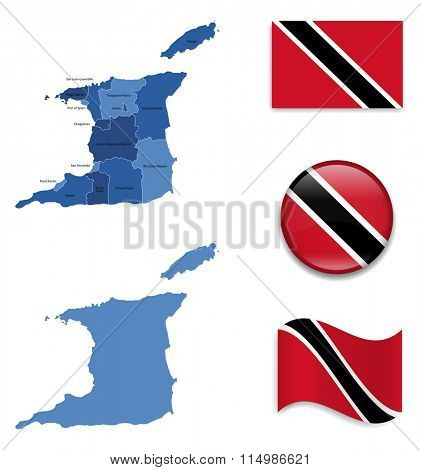 High Detailed Map of Trinidad and Tobago With Flag Icons