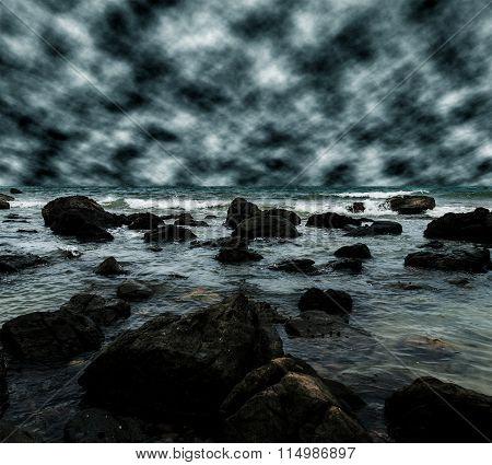 Sea And Beach With Sky Storm Cloud, Dark Tone