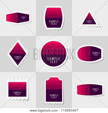 Collection of sample logo and text postage stamp
