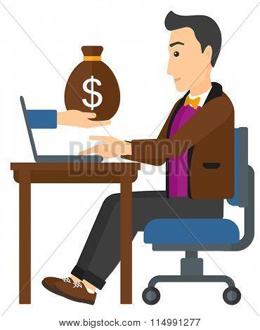 Businessman working in office.
