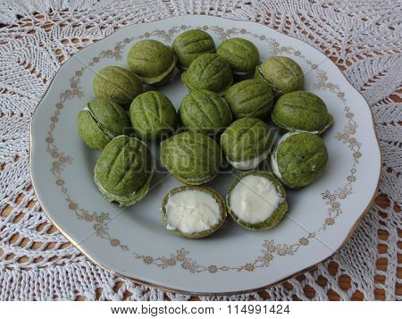 White nettle nuts cream cookies and cakes