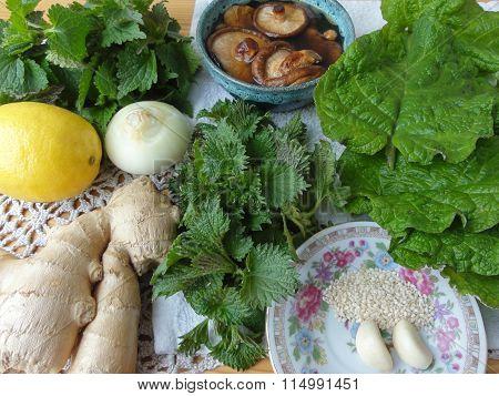 Burdock nettles salad cooking