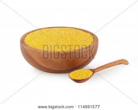 maize grits in wooden kitchen utensils