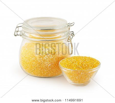 maize grits in glass kitchen utensils