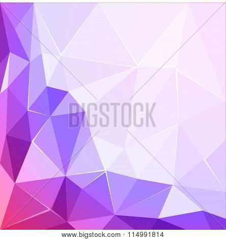 Abstract polygonal geometric facet shiny pink and violet background