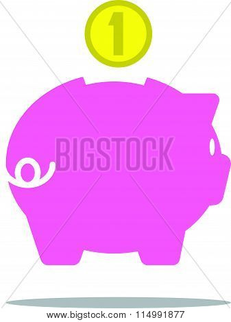 piggy bank icon flat style